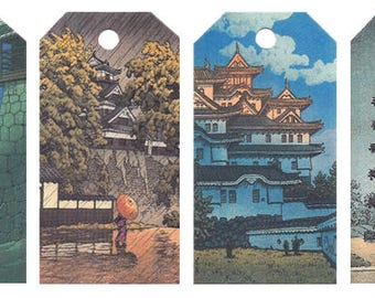 12 Shipping (Gift) Tags Hasui Architecture 027