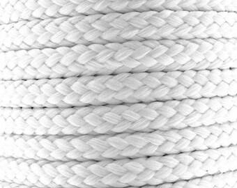 Cotton braided cord / white / width 7mm, 50cm cut