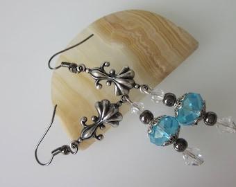 Art Nouveau Earrings, Crystal Jewelry, Antiqued Silver Chandelier Earrings, Swarovski Crystal Earrings, Blue and Silver, Nouveau Jewelry