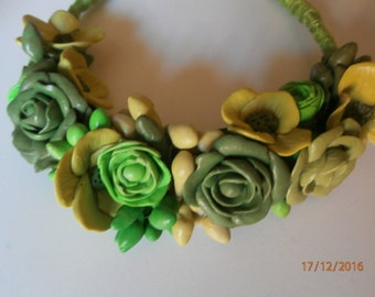 SPRING-GREEN GREEN polymer clay necklace in shades of green.