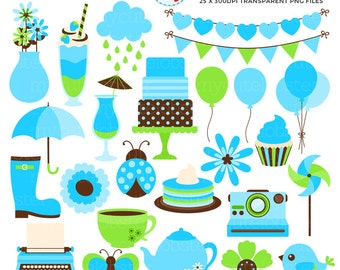 Blue & Green Elements Clipart Set - bunting, camera, typewriter, flowers, bird, food - personal use, small commercial use, instant download