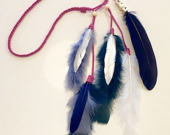 Feather headdress in dusty pink with blues and silver with your name in beads