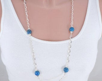 Lapis Lazuli Bead Necklace, Sterling Silver Chain, Genuine Lapis Beads, Bead Necklace, Swarovski Crystals, Crystal Spacers, 33 Inches