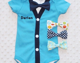 Personalized Baby Boy Cardigan Bow Tie Set, Baby Suit, Baby Boy Outfit, Baby Boy Clothes, Preppy Boy Outfit, Smash Cake Outfit