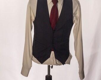 Men's Suit Vest / Vintage Navy Blue Pinstripe Waistcoat / Size 36 / Small - Medium