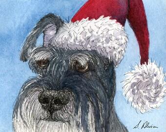 Schnauzer dog 8x10 print - Santa