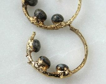 HUGE SALE  lapis earrings, lapis lazuli, lapis lazuli hoops, brown stone earrings, gold hoop earrings, gold dipped jewelry