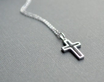 Sterling Silver Open Cut Cross Pendant Necklace Medium Large Silver Cross Charm 3D Cross Necklace Confirmation Communion Baptism