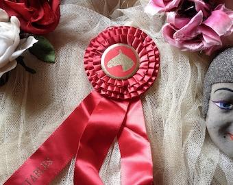 Vintage horse award show ribbon red satin ribbon rosette horseshow prize colorful display decorating ribbon