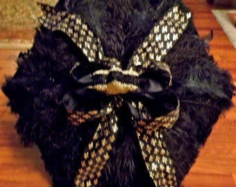 The Claudia black and gold fleur de lis ostrich feather second line umbrella