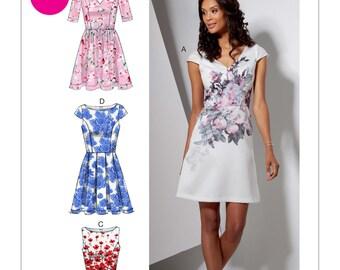 McCalls M7536 Misses'/Miss Petite Bateau or V-Neck Dresses