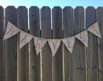 FALL HARVEST, Harvest Sign, Harvest Decor, Happy Harvest, Rustic Fall Decor, Autumn Signs, Fall Burlap Banner, Autumn Banner