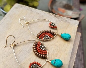 Free Spirited Boho Hoops with Turquoise Detail