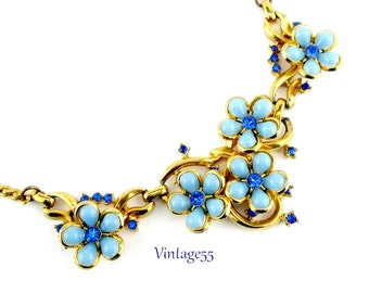 Necklace Rhinestone Blue Forget Me Not