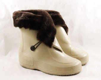 Child Size 10 Galoshes - Authentic 1960s Beige Tan Rain Boots Furry Cuff - Waterproof Rubber Shoe Overshoe - 60s Boys Girls Deadstock -47881