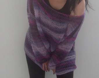Hand knitted soft and fuzzy MOHAIR SWEATER