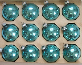 turquoise glass ornaments . turquoise Christmas Tree Glass Ornaments  . turquoise Glass Balls . Lot of 12  . shiny brite