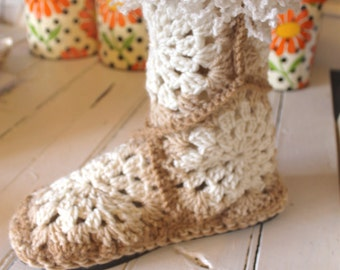 Crochet Boot Pattern-------GRANNY SQUARE SLIPPER Boots------ turn them into Street Shoes-----Womans sizes sm med lg