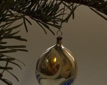Czech Bohemian Christmas Glass Ornament Silver Drop