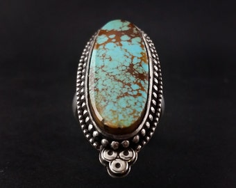 Manassa Colorado Turquoise Ring with Thick Band - Size 8