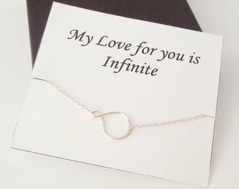 Eternity Infinity Sterling Silver Bracelet ~~Personalized Jewelry Gift Card for Friend, Sister, Bridal Party, Mom, Family, Weddings
