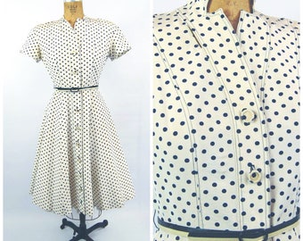 Early 1950s Blue and Ivory Polka Dot Dress // 26 27 Waist // Full Skirt - 50s Johnny E Juniors - Circa 1950 - Strong Shoulders Nipped Waist