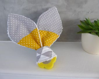 Teething ring Bunny ear with grey and yellow fabrics to choose