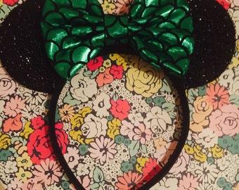 Cute Little Mermaid Bow inspired Black Sparkle Minnie Mouse Headband Ears