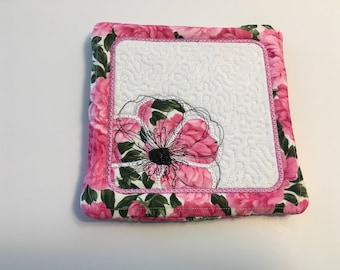 Pink peony embroidered trivet 7 inch square