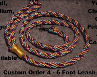 CUSTOM COLORS S/M/L Dog Braided Swivel Clip OR Slip Ring Dog Leash