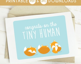 new baby card, printable baby card, boy card, baby greeting card, fox baby card, fox illustration card, printable baby shower