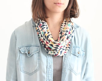 Infinity Scarf - Organic Cotton Jersey  - Colorful Geometric Pattern