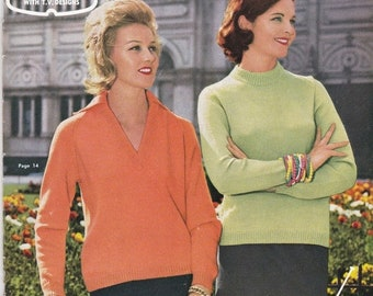 ON SALE Paton's Knitting Pattern  in Bluebell (Vintage 1960s) No 626, Jumpers, Sweaters, Cardigans, Jackets. Vintage Knitting Pattern