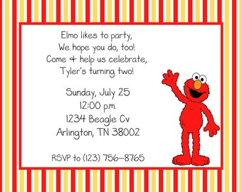 10 Striped Elmo Invitations with Envelopes.  Free Return Address Labels