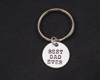 Best Dad Ever hand stamped keychain keyring, sterling silver filled, Father's Day, gift for dad, dad gift, father keychain, gift for men