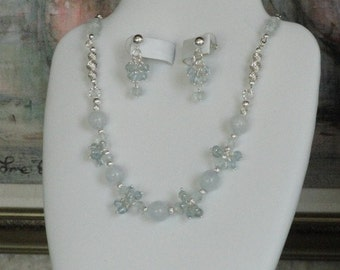 Aquamarine beaded necklace  -  90