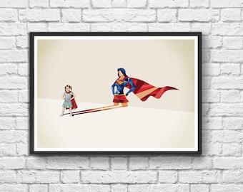 Art-Poster 50 x 70 cm - Girl Being Wonderwoman