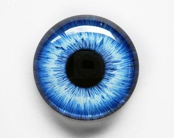 30mm handmade glass eye cabochon - blue eye - standard profile