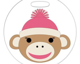 Luggage Tag - Girl Sock Monkey, Pink - Round Large Plastic Bag Tag