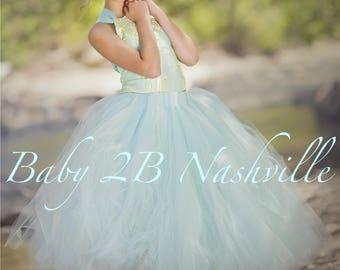 Aqua Blue Dress Gold Dress Flower Girl Dress Princess Dress Tulle Dress Lace Dress Wedding Dress Birthday Dress Tutu Dress Girls Mint Dress