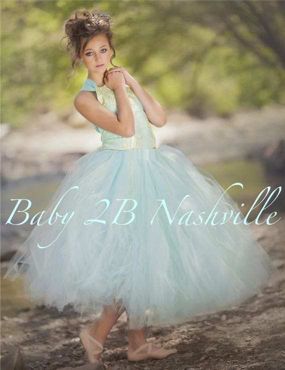 Aqua Blue Dress Gold Dress Flower Girl Dress Princess Dress