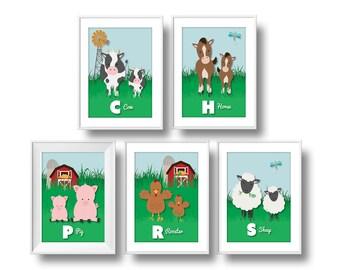 Farm Nursery Decor, ABC Nursery Wall Art, Baby Farm Animals Nursery