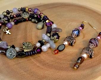 Golden elephant beaded earring and bracelet set