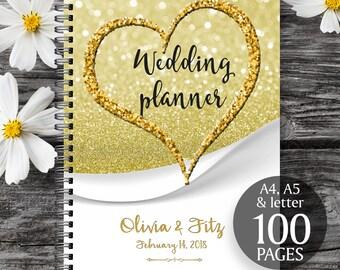 Gold wedding planner, Printable wedding planner, Wedding printable binder, Wedding book, Printable wedding organizer, To do wedding list