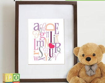 Alphabet Print, I heart You,  Nursery Print, Letters, Typography, Love,  Item 022
