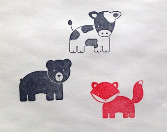 SALE Fox, Bear & Cow rubber stamp set too cute!
