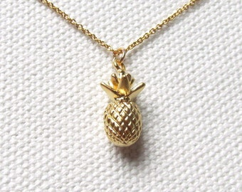 Gold Pineapple Necklace 14k Gold Filled Chain Petite Minimal Tropical Fruit Jewelry Gift Ideas