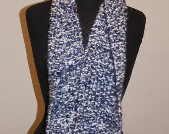 Denim Chunky Scarf - Hand Knit - Winter Warm - Womens - Mens - Scarf