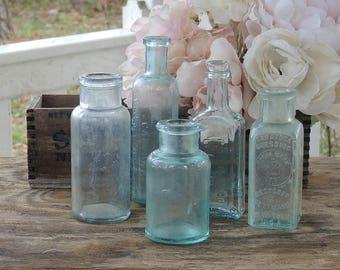 Handblown Sea Glass Blue Bottles, Set of 5, Beach Cottage Aqua Hand Dug Sea Glass Soda Bottles, Diffuser Bottles Collection 5