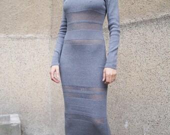 Gray Knit Dress/Cozy Dress/Sweater Dress/Knit Dress/Women Ribbed Dress/Handmade Dress/Stripe Dress/F1577